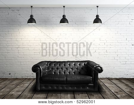 Leather Sofa In Room