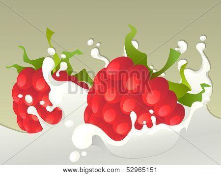 Milk splash with raspberries.