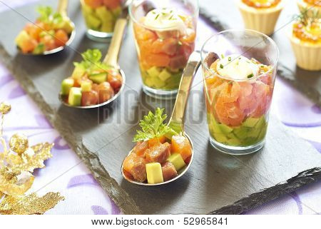 Holiday starter platter with fish appetizers
