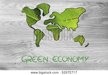 Green Economy, World Map Covered By Green Leaves