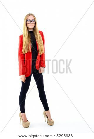 Attractive fashion girl with glasses, full length portrait over white