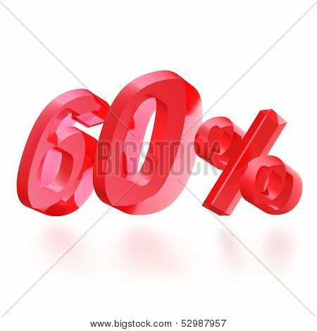 Sales concept: 60% off sign on white