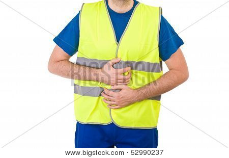 Blue collar worker suffering from stomach cramps. poster