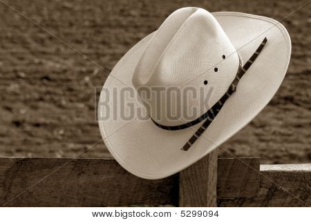 American West Rodeo Cowboy Hat on Ranch Fence Post