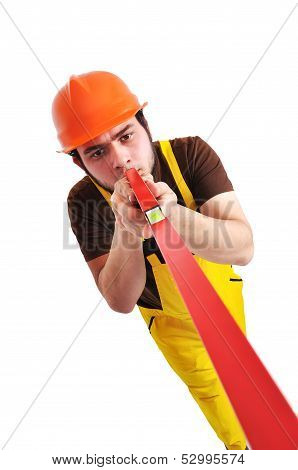 builder holding wasserwaage on a white background poster