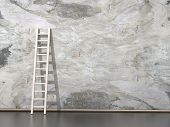Dirty grunge wall with wooden ladder  poster