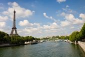 A view on the Eiffel Tower and the Seine river during daytime Paris France poster