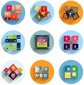 Geometric flat templates icon set for business / mobile phone / web poster