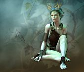 3D computer graphics of a girl with a golden antlers as headdress and vines in the background poster