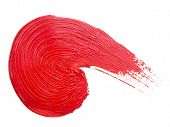 red brush strokes. Isolated on white background poster