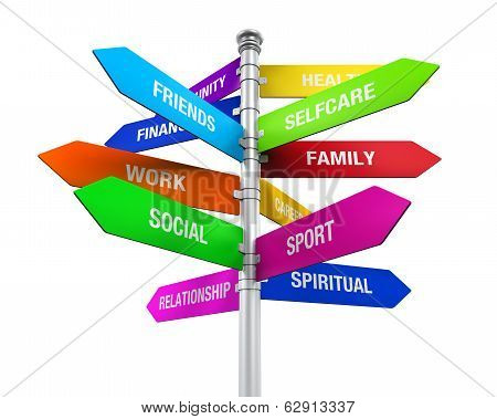 Colorful Direction Sign of Life Balance