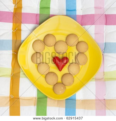 Heart Of Biscuits With Small Red Heart