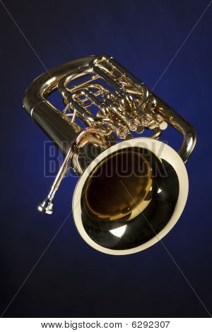 Euphonium Tuba Isolated On Blue