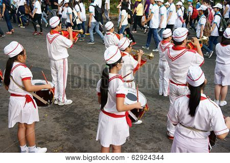 Group Of Teenager Play Musical Instruments