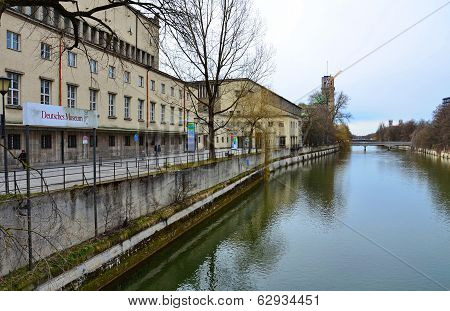 The Isar River And Deutsches Museum, Munich, Germany