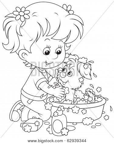 Girl washing her puppy
