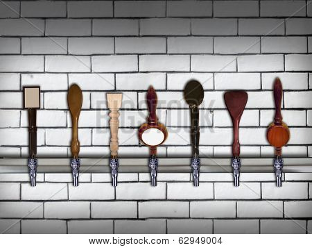 Multiple beer taps in a row