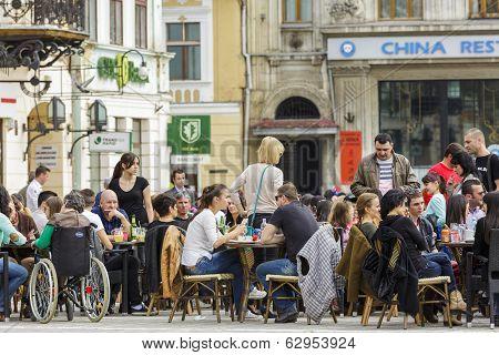 Sidewalk Cafe In Brasov, Romania