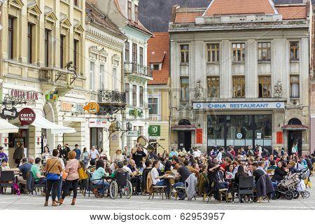 Crowded Sidewalk Cafe