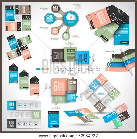 Timeline and  Infographics design templates with paper tags. Idea to display information, ranking and statistics with orginal and modern style.