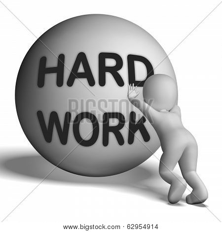 Hard Work Uphill Character Shows Difficult Working Labour