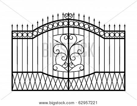 Forged gate isolated on white background.