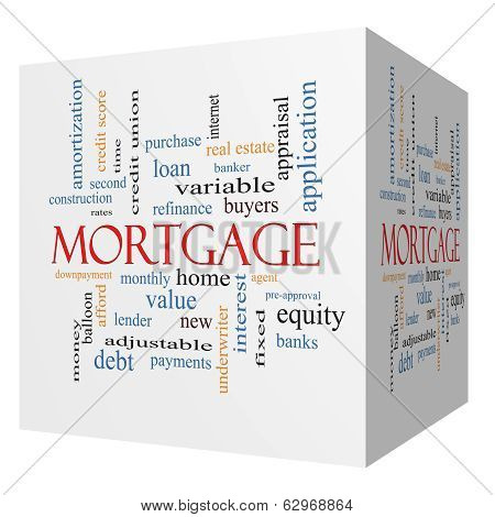 Mortgage 3D cube Word Cloud Concept with great terms such as loan home banker and more. poster