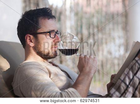 Man drinking wine