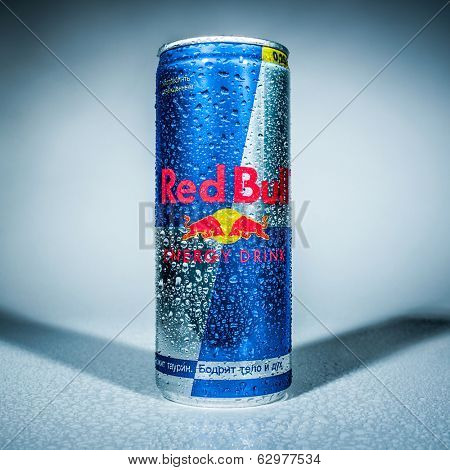 MOSCOW, RUSSIA-APRIL 4, 2014: Can of Red Bull Energy Drink. In terms of market share, Red Bull is the most popular energy drink in the world, with 5.387 billion cans sold in 2013.