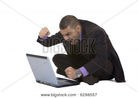 Business Man Stressed Because Of Computer Crash