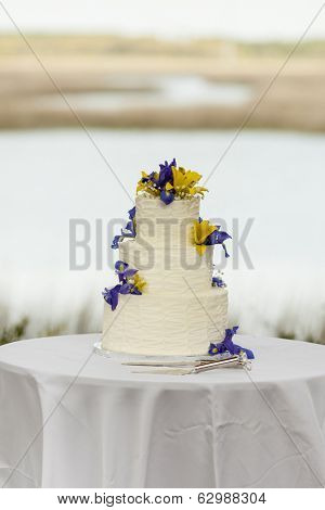 three tiered wedding cake with flowers at outdoor reception