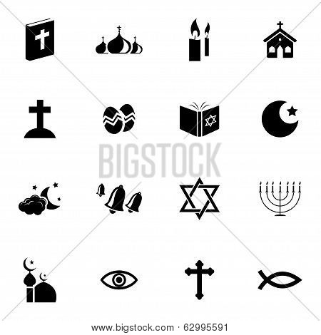 Vector black  religion icons set on white background poster