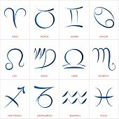 Calligraphic astrology illustrations of the twelve zodiac signs. poster