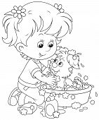 Little girl washes a small pup in a basin with lather poster