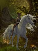 A fairy rides a wild white unicorn through the magical forest. poster