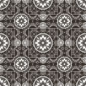 Seamless openwork white lace floral pattern on black background poster
