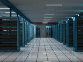 Hosting and Server room on a data center poster