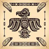 Tribal american vintage eagle sign vector illustration poster