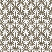 Brown and White Marijuana Leaf Pattern Repeat Background that is seamless and repeats poster