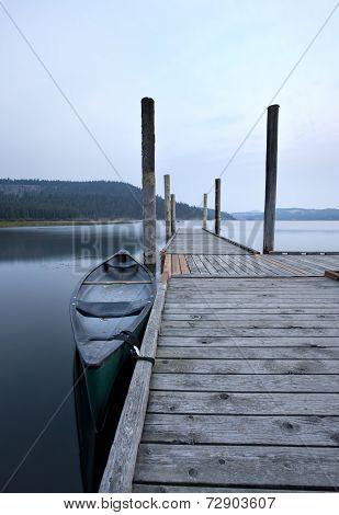 Canoe By Dock.