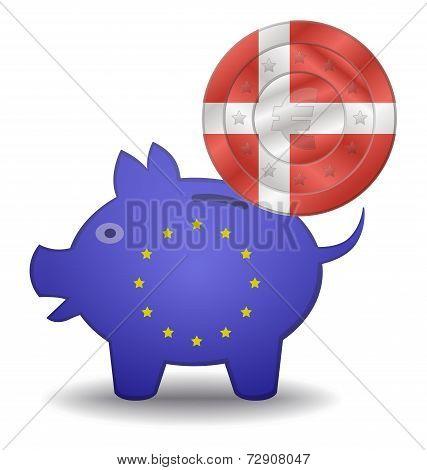 Piggy Bank And Euro European Denmark