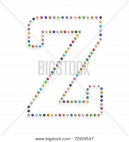 Letter Z With Pushpin