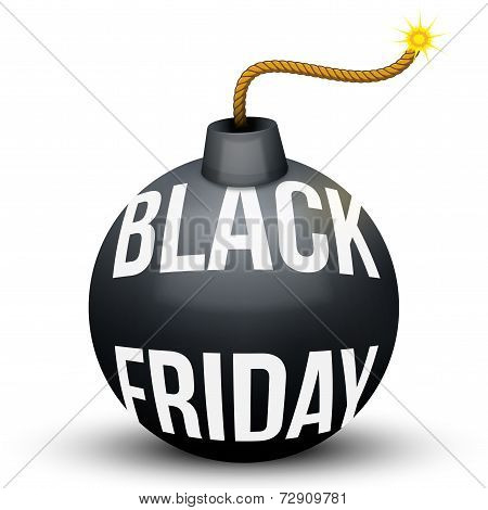 Bomb About To Blast with Black Friday sales tag. Vector Illustration isolated on white background. poster