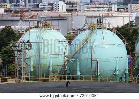 Gas Storage Tank In Oil Refinery Industry Site With Urban Scen Background