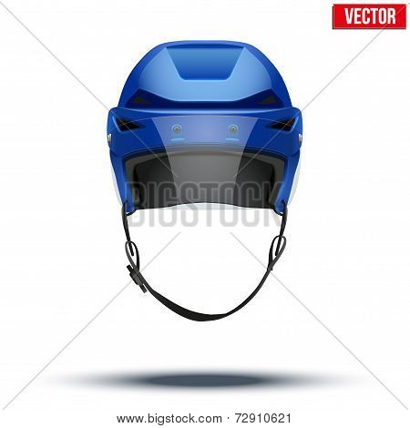 Classic blue Ice Hockey Helmet with glass visor. Sports Vector illustration isolated on white background. poster
