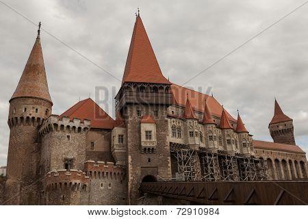Beautiful View On Corvin Castle, Hunyad Castle, Romanian Landmarks