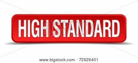 High Standard Red 3D Square Button On White Background