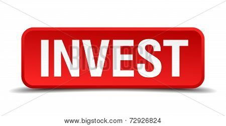 Invest Red 3D Square Button On White Background