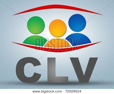 CLV - Customer Lifetime Value text illustration concept on grey background with group of people icons poster