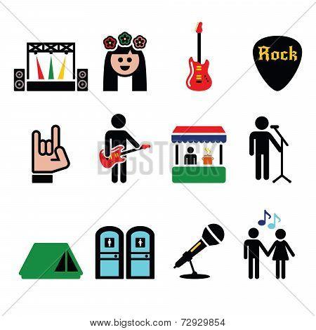 Music festival, live concert vector icons set
